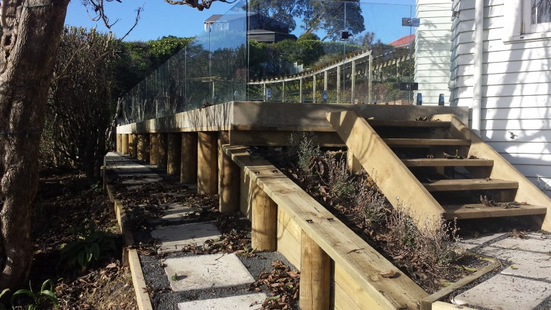 Completed Retaining Walls, Walkways, Stairs And Paving